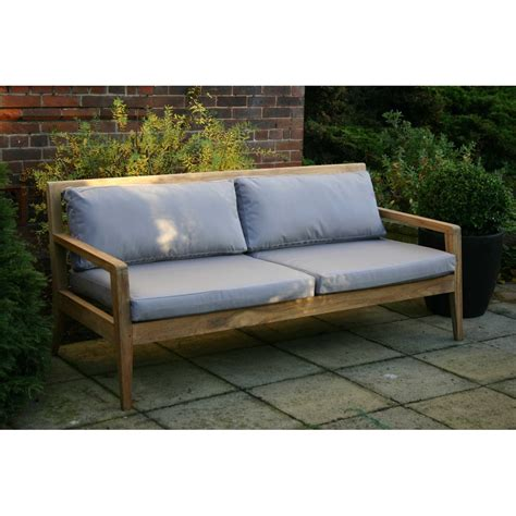 menton luxury teak sofa bench with grey cushions garden