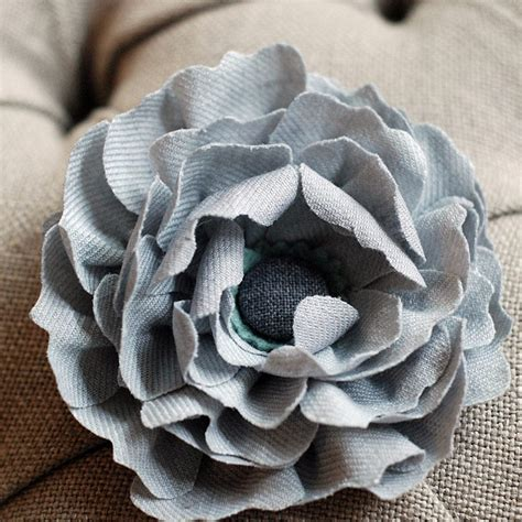 Grey Flower fabric flowers from churchtown chapeau co the sweetest occasion