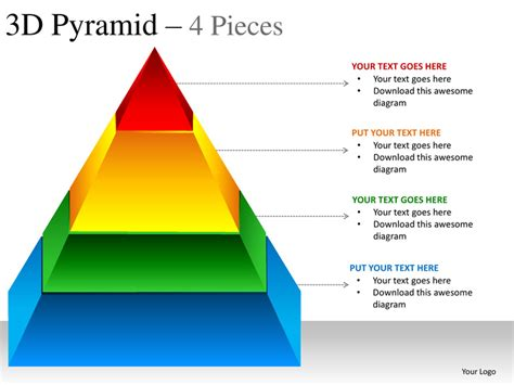 3d pyramid template 3d pyramid 4 pieces powerpoint presentation templates
