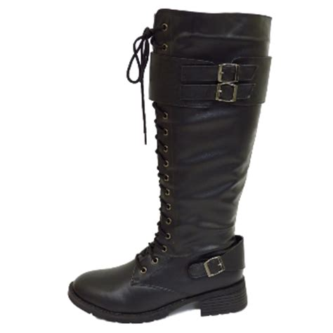 wide calf lace up boots womens black biker zip up knee high wide calf lace boots
