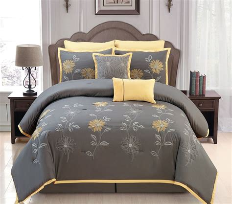 Sunshine Yellow Grey Comforter Set Embroidery Bed In A Grey Bedding Sets