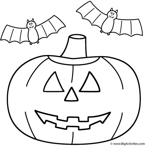 Bats And Pumpkins Coloring Pages | pumpkin jack o lantern with bats coloring page halloween