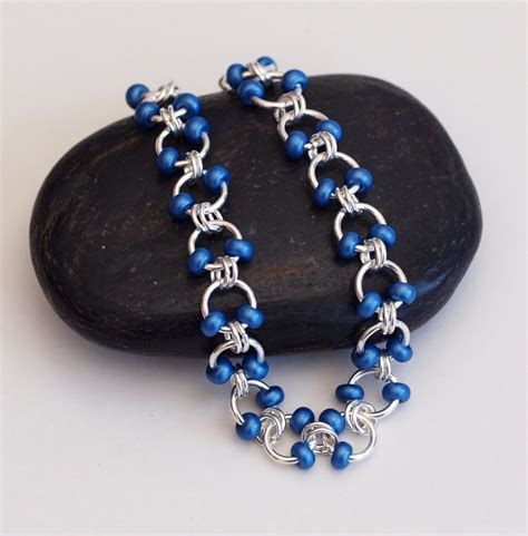 beaded chainmaille jewelry patterns metallic blue beaded chainmaille bracelet cable weave
