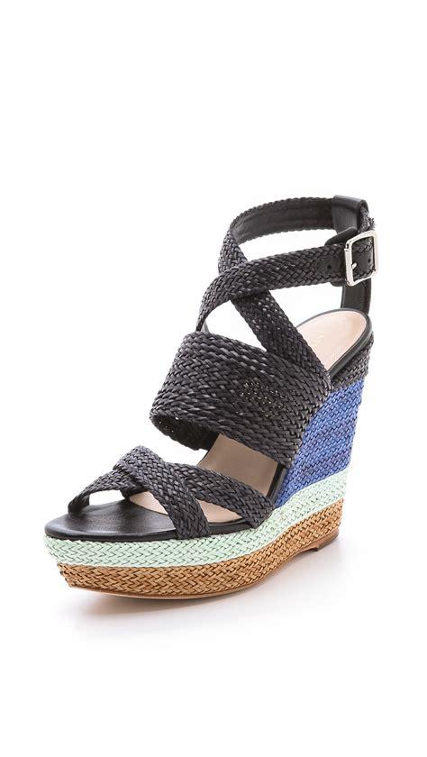 loeffler randall sandals loeffler randall lake strappy wedge sandals in blue