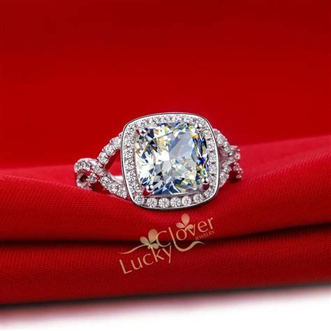 925 Silver 3 Carat Cushion Cut Simulated Diamond Halo