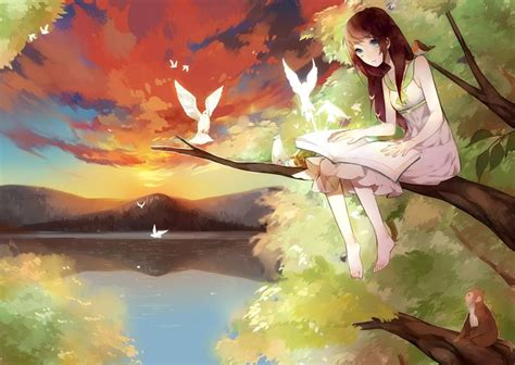 anime couple under a tree anime girl in tree with birds anime pinterest trees