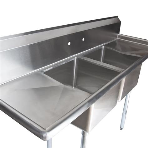 commercial stainless steel sink regency 72 quot 16 stainless steel two compartment