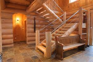 Log Home Stairs by Log Homes And Timber Frame Portfolio Harkins Ca