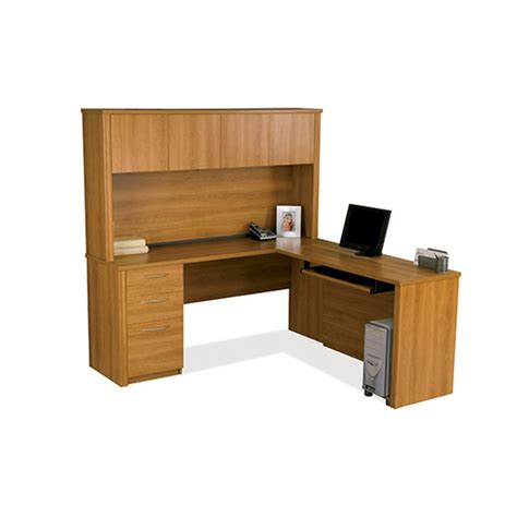 70 Inch Computer Desk by Embassy Cappuccino Cherry 70 Inch Wide L Shaped