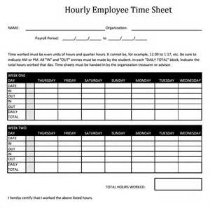 Hourly Timesheet Template by 11 Hourly Timesheet Templates Free Sle Exle