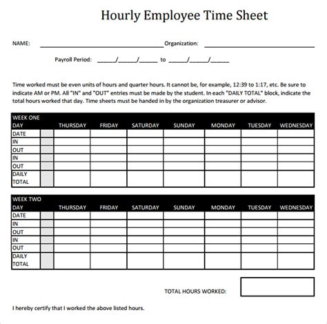 18 hourly timesheet templates free sle exle