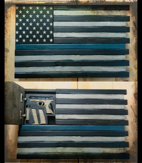 Rustic Home Wall Decor leo thin blue line home defense concealment flag