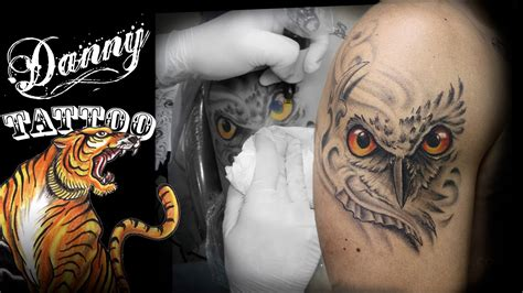 coruja owl tattoo danny tattoo timelapse youtube