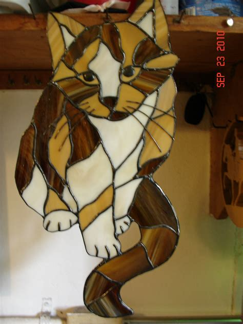 stained glass cat calico cat stained glass picture callie