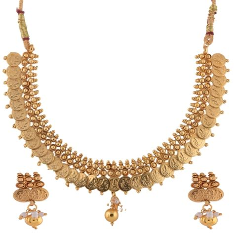 buy crystal jewelry sets onlinelaxmi coin setsearrings lakshmi coin necklace set and pearl drops mgana80304797530
