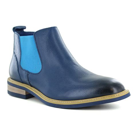 justin reece mens ethan navy leather chelsea boots at