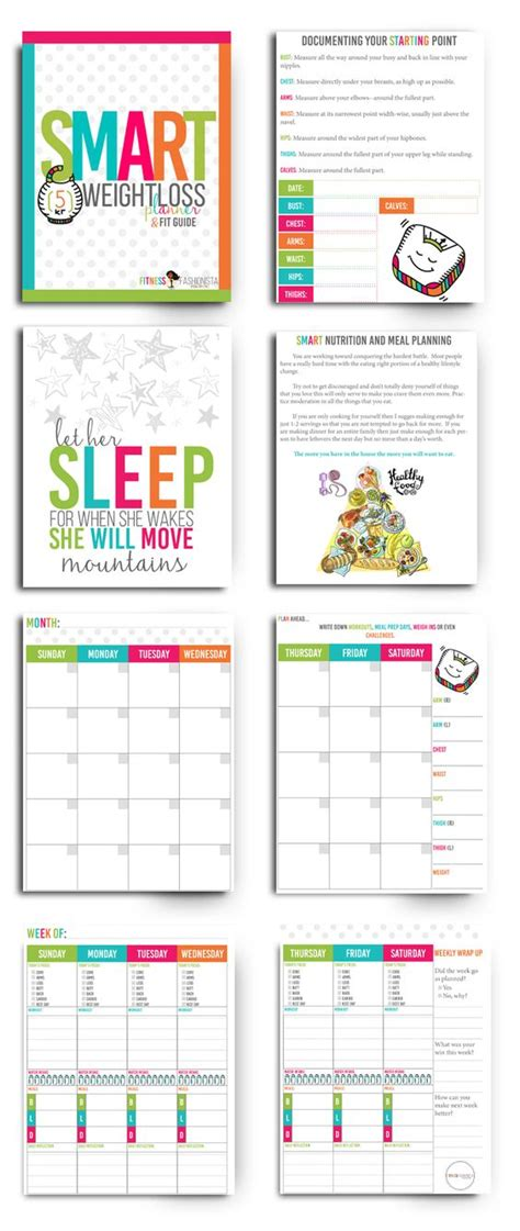 weight loss smart printable fitness planner pinterest the world s catalog of ideas