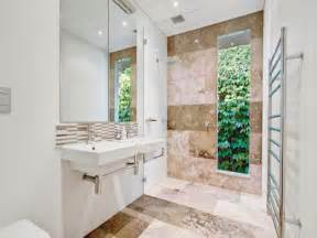 Cottage Blinds Modern Bathroom Design With Floor To Ceiling Windows Using