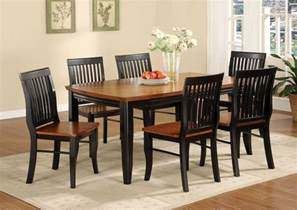 black and brown painted oak mission style dining room set with rectangle wooden dining table and