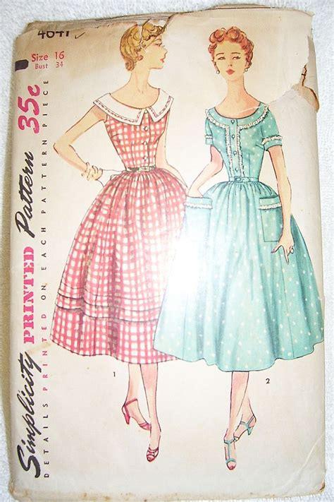 vintage patterns 1950s a 1950s vintage simplicity dress pattern 4641