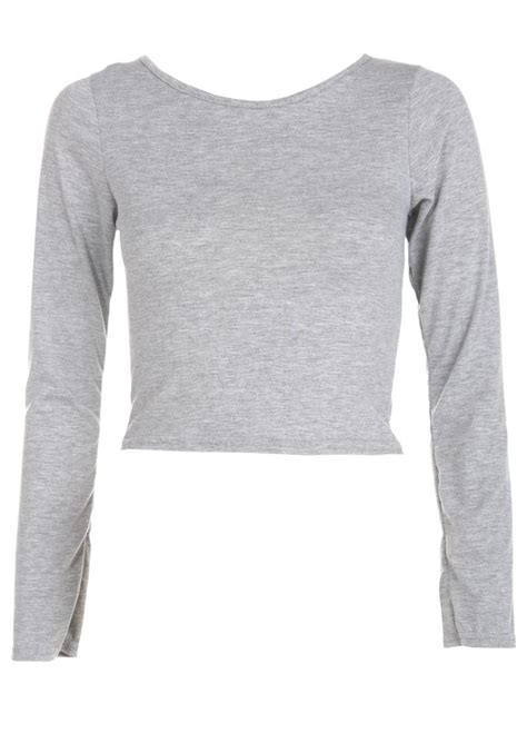 Top A Grey marl grey sleeve crop top missrebel