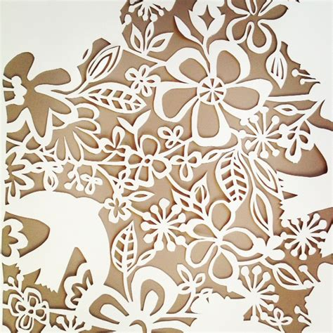 brown pattern cutting paper papercutting