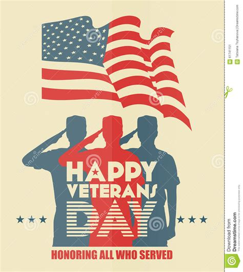 veterans day greeting card us soldier in silhouette