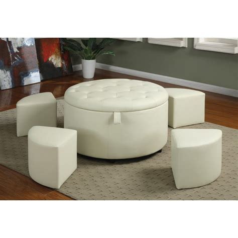 white round tufted ottoman living room attractive living room storage ottoman with