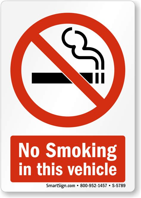 no smoking sign for vehicles no smoking in this vehicle graphic sign