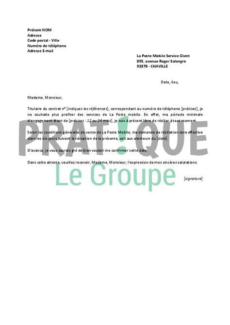 Resiliation Lettre Gratuite Lettre De R 233 Siliation La Poste Mobile Pratique Fr