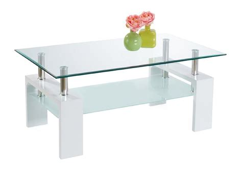 table basse en verre blanche gloria
