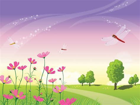 beautiful nature scene powerpoint templates fuchsia