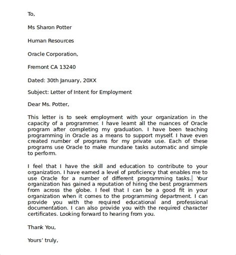 Transfer Intent Letter Sle Of Letter Of Intent For A Transfer Template