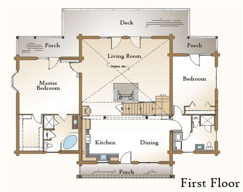 open living space floor plans log home floor plan 171 real log style 171 page 2