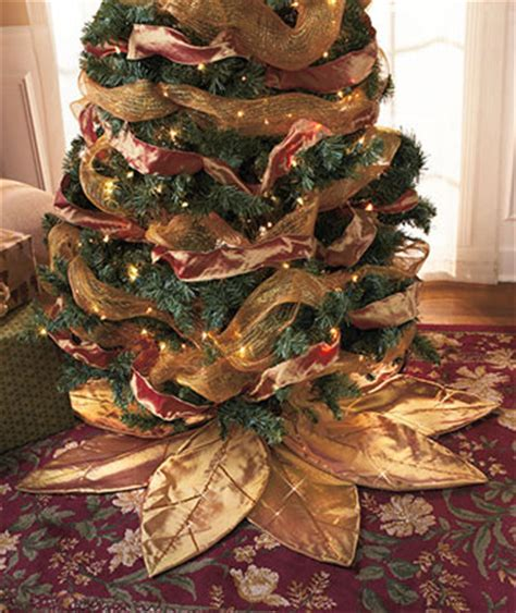 gold poinsettia christmas tree skirts holiday decor dress