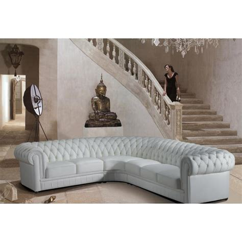 transitional tufted white leather sectional sofa