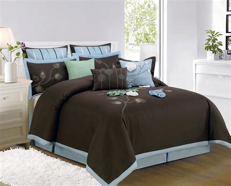 sky blue and brown cotton king bedspread with rectangle