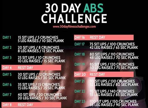 30 day ab challenge images 17 best images about 30 day ab challenge on ab