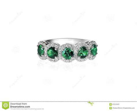 green emerald anniversary band ring stock photo image