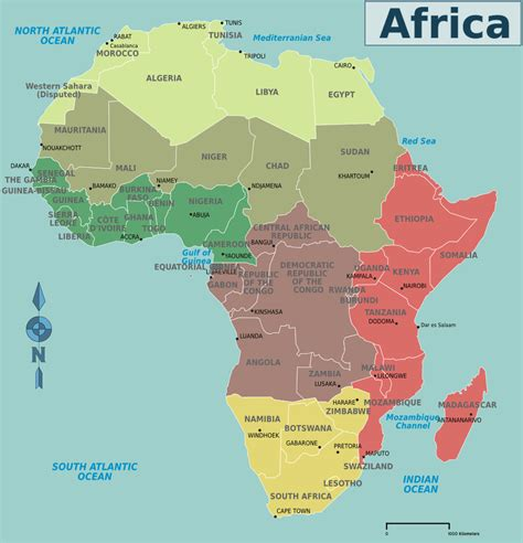 africa map by country africa map countries and capitals map of africa