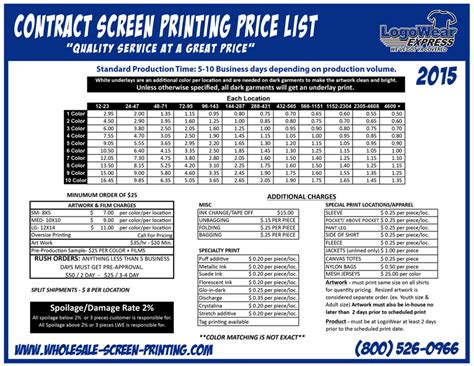 Wholesale Screen Printing Price List Contract Price List Screen Printing Contract Template