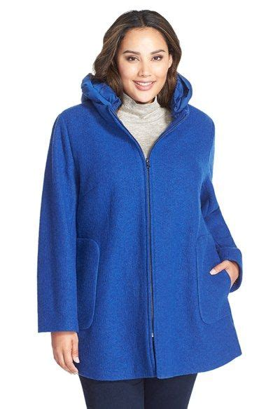 plus size swing coat kristen blake hooded boiled wool blend swing coat plus