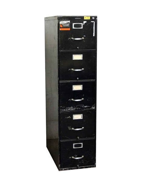 Vintage Used Steelcase Black 5 Drawer File Cabinet   Olde