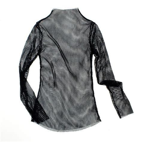 Sleeve Turtle Blouse 4 Fishnet Blouse Turtle High Neck T Shirt Sleeve