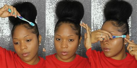 pics of black pretty big hair buns with added hair how to hair tutorial big top knot bun baby hairs youtube