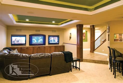 basement tv wall stairs traditional basement