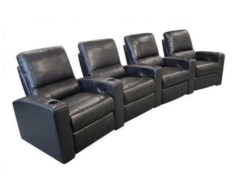 Non Reclining Theater Seats by Seatcraft Adonis Home Theater Seating 4 Seats Black Chairs Manual Recliners Ebay