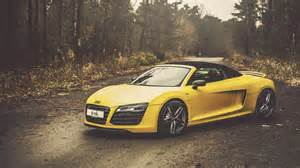 Audi R8 Yellow Yellow Audi R8 V10 Spyder Hd Wallpaper