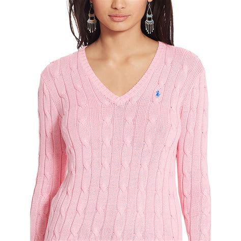 v neck cable knit sweater lyst polo ralph cable knit v neck sweater in pink