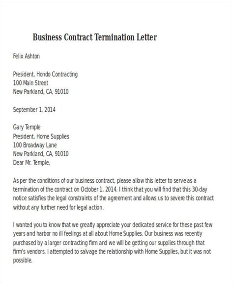 business contract termination letter template 32 termination letter exles doc pdf ai free